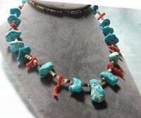 "Southwest Necklace Turquoise / Coral / Heishi Beads 27 1/4"" long"