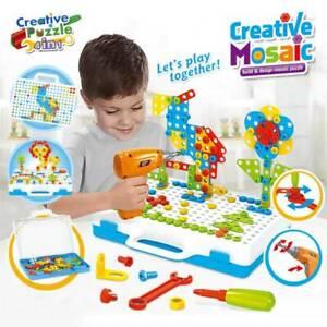 237PCS Mosaic Building Blocks Peg Electric Drill Assemble DIY Kid Toys Set Gifts
