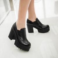 Women's Block High Heels Round Toe Pumps Casual Platform Slip on Shoes Size