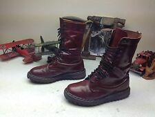DR MARTENS BURGUNDY LEATHER LACE UP ENGINEER RIPPLE SOLE BOSS BOOTS 10 W
