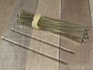 "25 Vintage Crystal Clear Glass Rod Swizzle Stick Chandelier Lamp Prisms 6 1/4"""