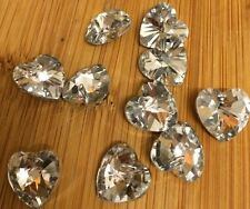 10 Clear Electroplated Heart Shaped Faceted Glass Beads.Size 14x14x8mm.