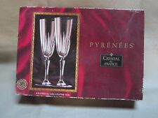 """Pyrenees"" Crystal de France Champagne Flutes Genuine Lead Crystal 8"" 4 Pieces!!"