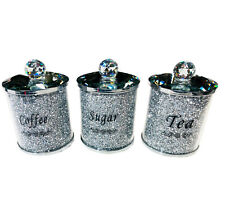 DIAMOND CRUSHED SILVER CRYSTAL FILLED TEA COFFEE SUGAR CANISTERS JARS STORAGE UK