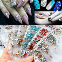 1728pcs Nail Art Rhinestones Glitter Diamond Crystal Gems 3D Tips DIY Decoration