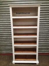 Solid Wooden 6 Storage Shelf Bookcase Unit Old Style Design White Pine Shelf