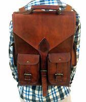 Handmade genuine Leather Men Backpack Satchel Brown Vintage Bag laptop new bag