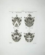 1816 Adelige von Blanchard Espingal Jean Rollin 4 Kupferstich-Wappen Tyroff