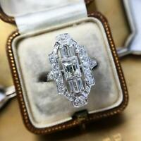 Elongated Victorian Vintage Art Deco Ring 14K White Gold Plated 2.78 Ct Diamond