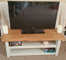 Handmade Rustic Chunky TV Unit Painted Stone Grey or White with Oak Effect Top