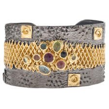 Polemis 2001 ~ Sterling & Gold Plated Silver Wide Cuff Bracelet with Gemstones