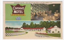 Coronet Motel US 21 Columbia South Carolina linen postcard