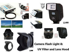 CK15u Camera Flash + UV Filter + Lens Hood for Canon EOS 1200D 1300D w/ 18-55mm
