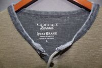 Men's LUCKY BRAND Henley Thermal Venice Burnout Waffle Shirt Olive Large $59.50