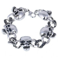 New Men's Silver Tone Skeleton Link Rhinestone Bracelet