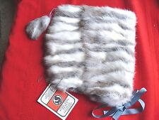 Vintage women's Russian rabbit fur hat, gray and white