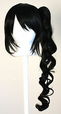 23'' Curly Pony Tail + Base Natural Black Cosplay Wig NEW
