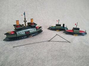 jouet tole mecanique ancien ensemble de navires de guerre HESS germany fin XIX e