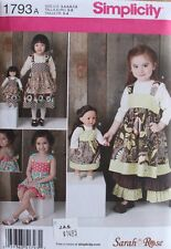"DRESS-PANTS-SHORTS/18"" DOLL DRESS Simplicity Pattern 1793 Size CHILD/GIRLS 3-8"