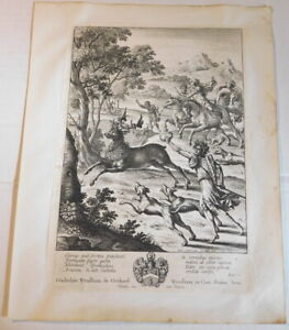 JULUS HUNTING THE STAG OF TYRRHEUS - ORIG. 1654 ETCHING by WENCESLAUS HOLLAR