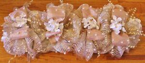"Handmade Centerpiece Deco Mesh-Holiday/ All Season-Rose Gold & White Flowers-24"""