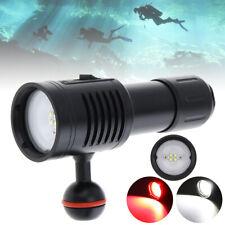 4 XML2 + 2 Red LED Scuba Diving Flashlight Lamp Torch Light Underwater 100M
