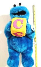 "Sesame Street Cookie Monster 16"" Tall Plush Toy with Block 2005 Sesame Workshop"