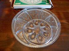 Vintage Indiana Glass Deviled Egg & Relish Plate Crystal Clear Pebble Leaf EUC