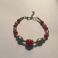 New Tibet silver RED beadS WITH FISH bracelet-B19