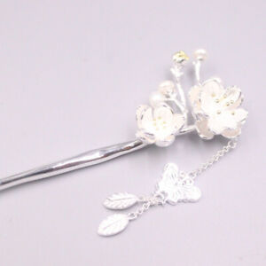 S925 Sterling Silver Hairpin Butterfly Flower Women Hair Accessories 24-25g