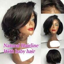 8A Unprocessed Brazillian Natural Wavy Short Bob Glueless Lace Front Wig