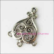 4Pcs Antiqued Silver Tone Heart Flowers Charms Pendants Connectors 25x37mm