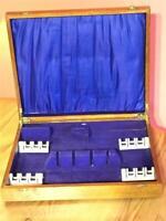 Vintage Empty Wooden Cutlery Box Blue Lining 32 cm x 27 cm x 5.5 cm