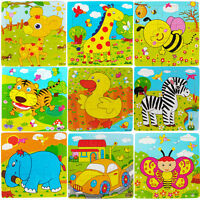 1 Pcs Multi-Colored Animal Wooden Colorful Jigsaw Puzzle Toy Toddler for Kids Fw