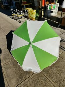 """Vintage Beach Chair Table Clamp Clip On 45"""" Umbrella w/ Fringe Retro Lime Green"""