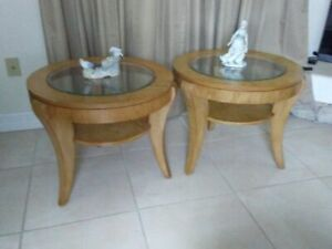 Round End Table Wood With Glass Top Mid Century Set Of 2