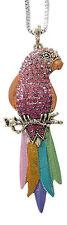Collier, pendentif motif perroquet multicolore avec strass, A1.
