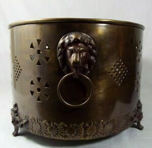 """Vtg. XL Peirced Brass Metal Footed Jardiniere Oval Planter Lion Head Handle 17"""""""
