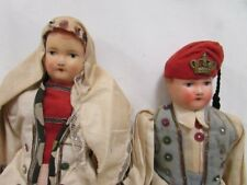 Early European Bisque Cloth Dolls In White Case ? Made in: Unknown size 11x16