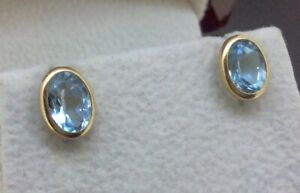 STUNNING PAIR OF 9K 9CT GOLD 2.69CT OVAL NATURAL BLUE TOPAZ  EARRINGS EAR STUDS