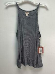 Mossimo Knit Tank Top blouse With Blue & White Stripes Womens Size XXL