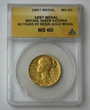 1897 G.Britain Gold Medal, Queen Victoria 60 Yrs. of Reign ANACS MS 60 #68355JR