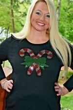 Christmas Rhinestone Bling shirt XS S M L XL XXL 1X 2X 3X 4X 5X Candy Canes