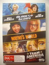 BLADES OF GLORY / WAYNE'S WORLD / TEAM AMERICA - DVD 3-Pack - VGC - Will Ferrell