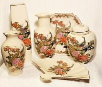 Vintage 6 pcs Japan Made Vases Urn Plate Satsuma W/ Hand Painted Peacocks Used