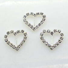 10pcs 20X19mm DIY Heart Wedding Invitation Rhinestone Buckles Ribbon Decoration