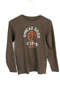 "Life Is Good Boys L (10), Brown T-shirt Long Slv, ""Spread Good Vibes"" Basketball"