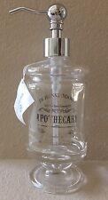 HOTEL BALFOUR SILVER APOTHECARY PEDESTAL GLASS LIQUID SOAP PUMP DISPENSER