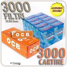 3000 Filtri RIZLA SLIM 6mm + 3000 Cartine OCB ORANGE CORTE ARANCIONI + ACCENDINO