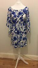 H&M kimono style blue & white colour dress BNWT Size 8